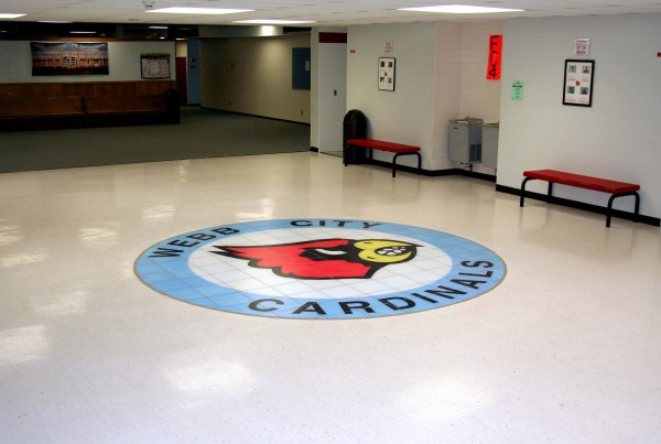 Webb City Cardinals Logo Floor Mural - Wide Angle